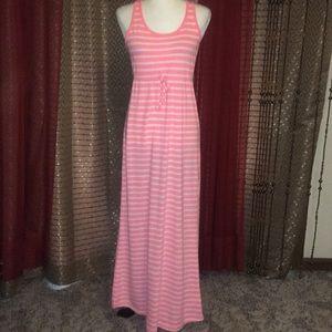 Old Navy Pink/White Striped Maxi Dress Plus Size